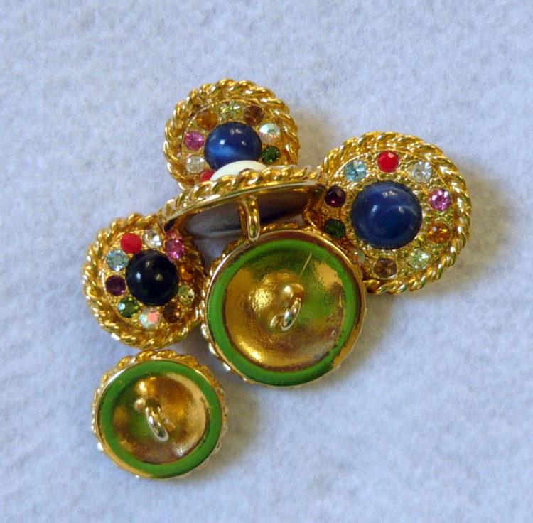Bellissimo bottone gioiello metallo e swarovski