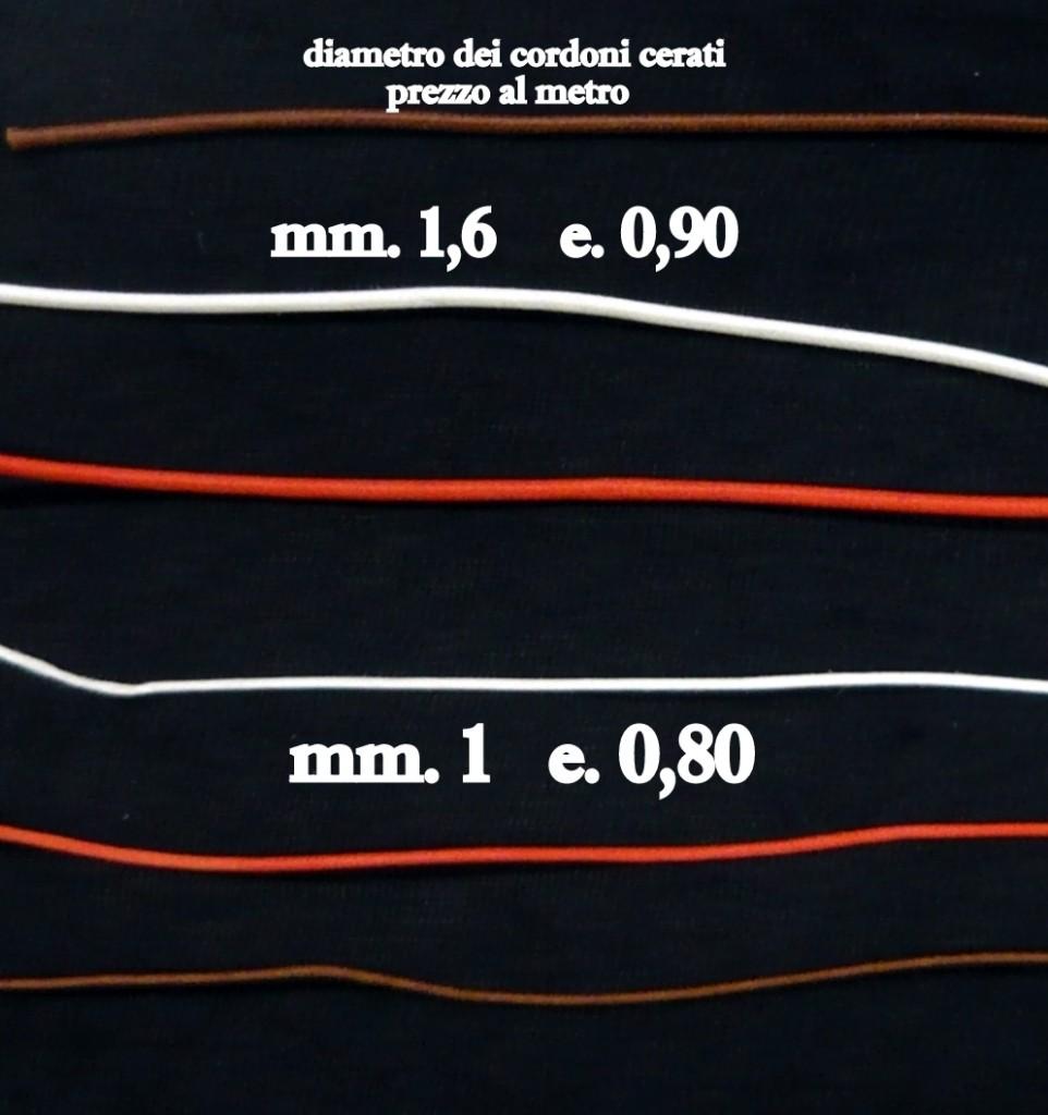 cordone cerato diametri e prezzi