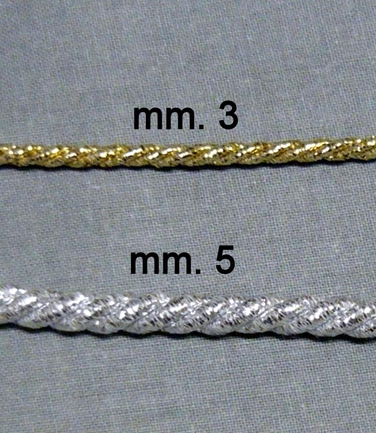 Cordone in lurex Oro e Argento