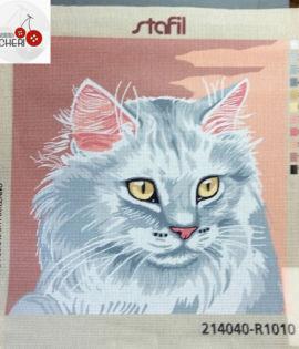 Quadro mezzo punto Gatto grigio