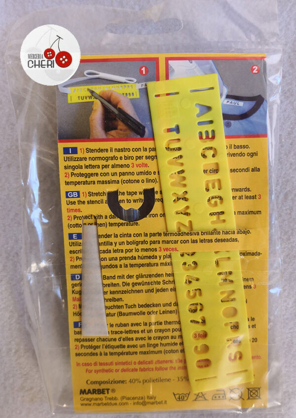 Set marca biancheria termo adesivo
