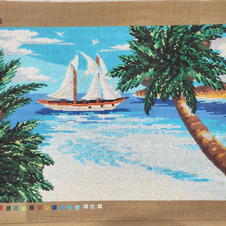 Quadro mezzopunto - Barca in baia cm 50 x 35