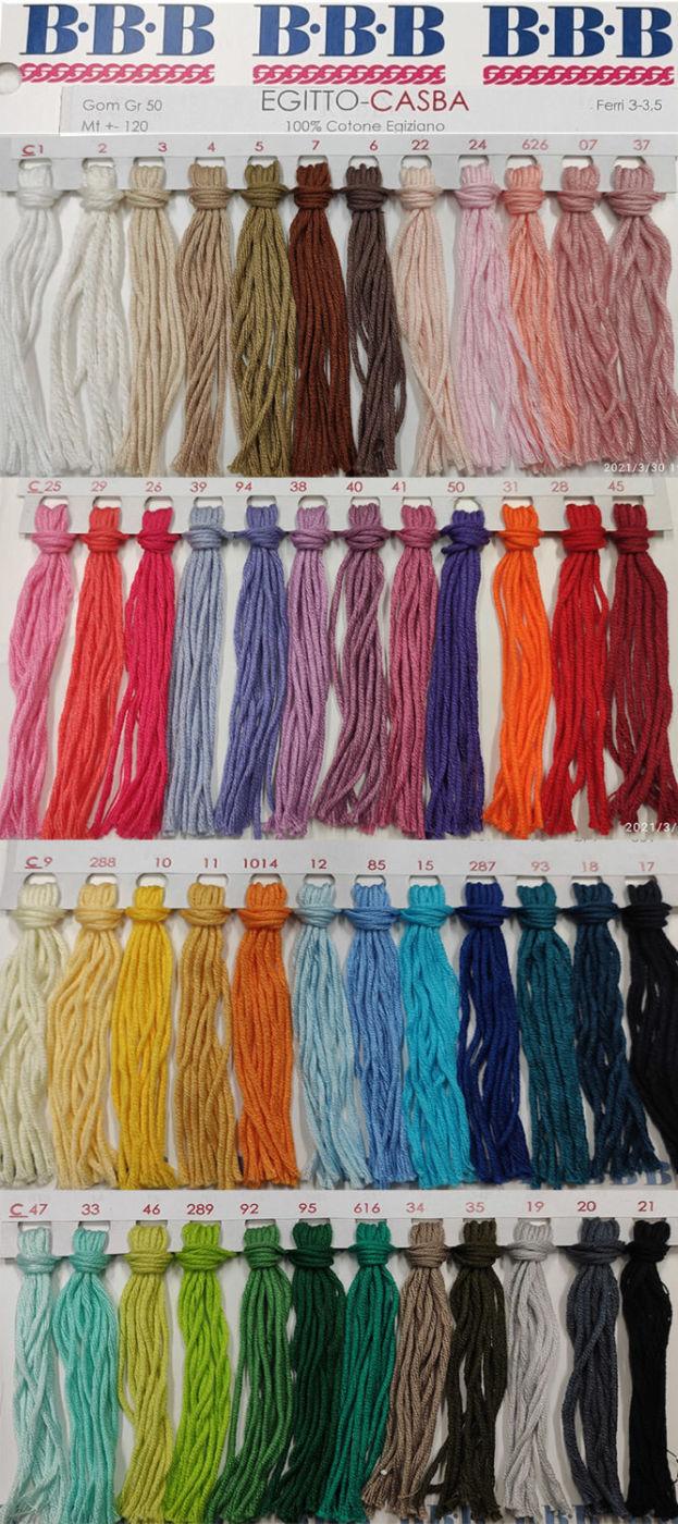 cartella colori gomitoli di cotone gr. 50