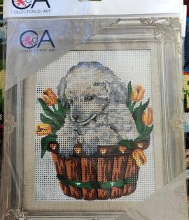 Collection d'art- Cagnolino nel cesto dei tulipani