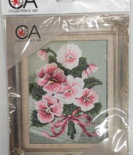 Fiori rosa Set ricamo Collection d'art