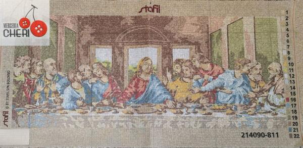 Canovaccio raffigurante l'ultima cena di Leonardo da Vinci cm 40 x 90