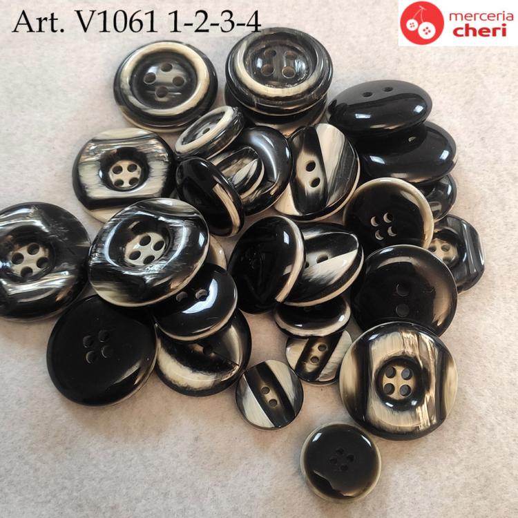 Bottoni  vintage anni 60 neri con striature chiare