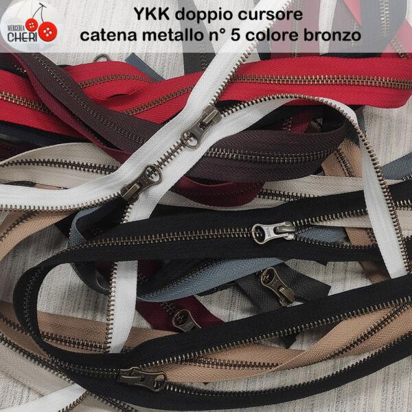 YKK zip doppio cursore metallo bronzato  cm. 75