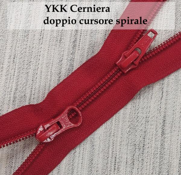 YKK zip doppio cursore spirale cm. 85