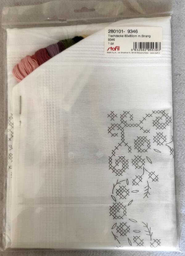 kit tovaglia punto croce cm 80x80