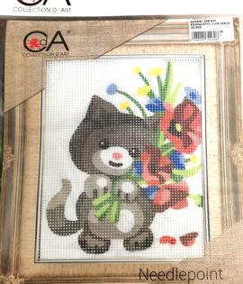 Collection d'art- Micio coi fiori prestampato